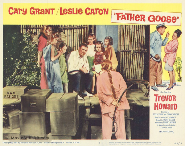 Father Goose - Lobby card with Cary Grant & Leslie Caron