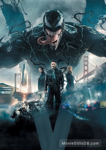 Venom - Promotional art with Tom Hardy, Michelle Williams & Riz Ahmed
