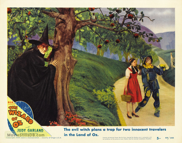 The Wizard of Oz - Lobby card with Judy Garland, Ray Bolger & Margaret Hamilton