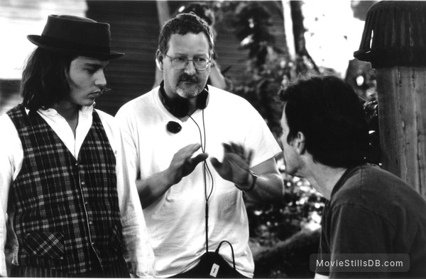 Benny And Joon - Behind the scenes photo of Johnny Depp, Aidan Quinn & Jeremiah S Chechik