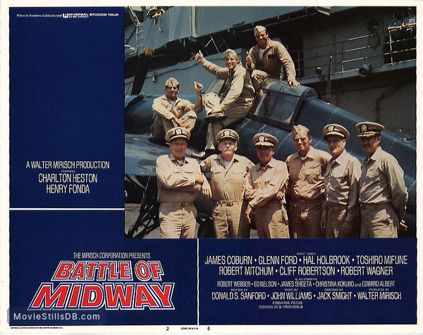 Midway - Lobby card with Dabney Coleman, Robert Webber, Charlton Heston & Glenn Ford