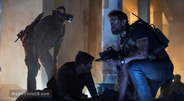 13 Hours: The Secret Soldiers of Benghazi - Behind the scenes photo of John Krasinski, David Giuntoli & Demetrius Grosse
