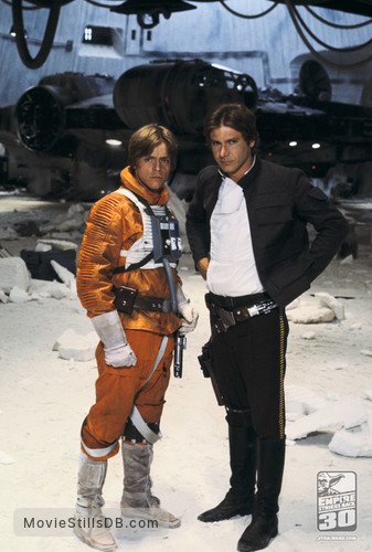 Star Wars: Episode V - The Empire Strikes Back - Behind the scenes photo of Harrison Ford & Mark Hamill