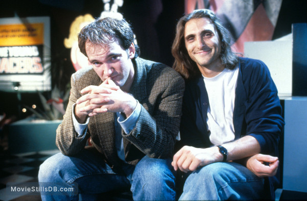Pulp Fiction - Behind the scenes photo of Quentin Tarantino & Lawrence Bender