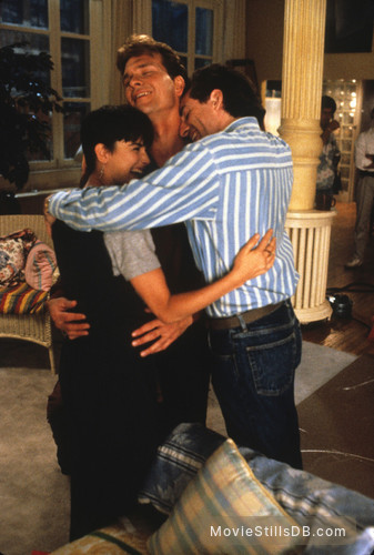 Ghost - Behind the scenes photo of Patrick Swayze, Demi Moore & Jerry Zucker
