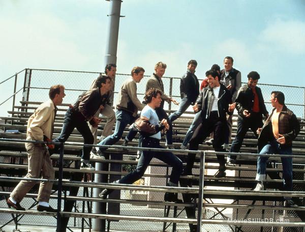 Grease - Publicity still of John Travolta, Barry Pearl, Michael Tucci, Kelly Ward & Jeff Conaway