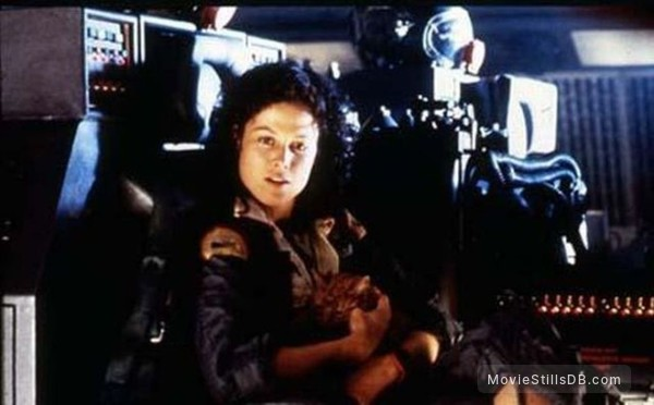 Alien - Behind the scenes photo of Sigourney Weaver
