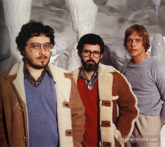 Star Wars: Episode V - The Empire Strikes Back - Behind the scenes photo of Lawrence Kasdan, George Lucas & Mark Hamill