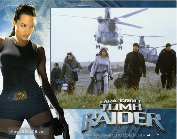 Lara Croft: Tomb Raider - Lobby card with Noah Taylor, Angelina Jolie, Iain Glen & Daniel Craig