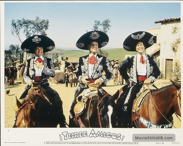 ¡Three Amigos! - Lobby card with Steve Martin, Chevy Chase & Martin Short