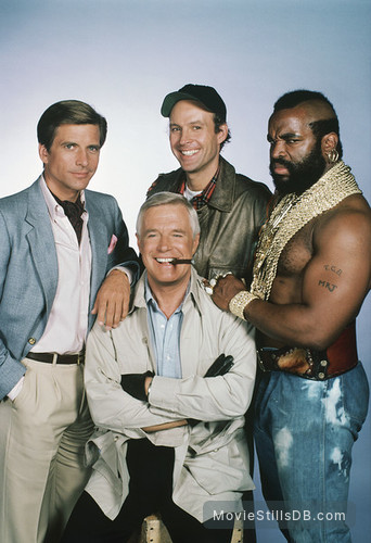 The A-Team - Promo shot of George Peppard, Dwight Schultz, Mr. T & Dirk Benedict