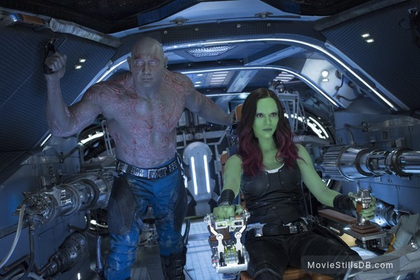 Guardians of the Galaxy Vol. 2 - Publicity still of Zoe Saldana & Dave Bautista