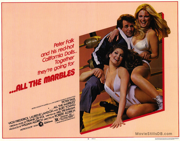 ...All the Marbles - Lobby card with Peter Falk, Laurene Landon & Vicki Frederick