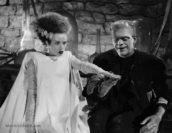 Bride of Frankenstein - Publicity still of Boris Karloff & Elsa Lanchester