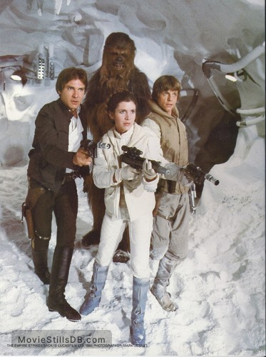 Star Wars: Episode V - The Empire Strikes Back - Lobby card with Peter Mayhew, Mark Hamill, Harrison Ford & Carrie Fisher