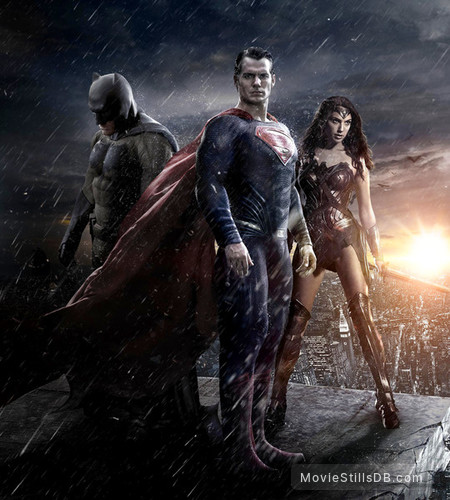 Batman v Superman: Dawn of Justice - Promotional art with Ben Affleck, Henry Cavill & Gal Gadot