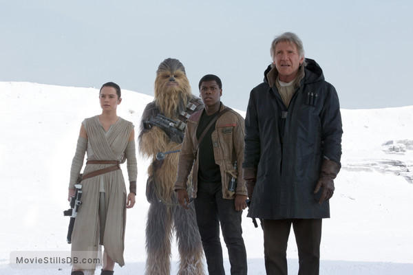 Star Wars: The Force Awakens - Publicity still of Harrison Ford, Daisy Ridley, John Boyega & Peter Mayhew