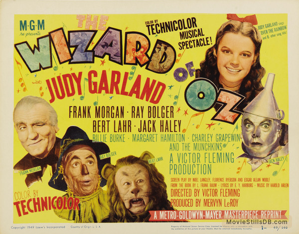 The Wizard of Oz - Lobby card with Judy Garland, Frank Morgan, Ray Bolger, Bert Lahr & Jack Haley