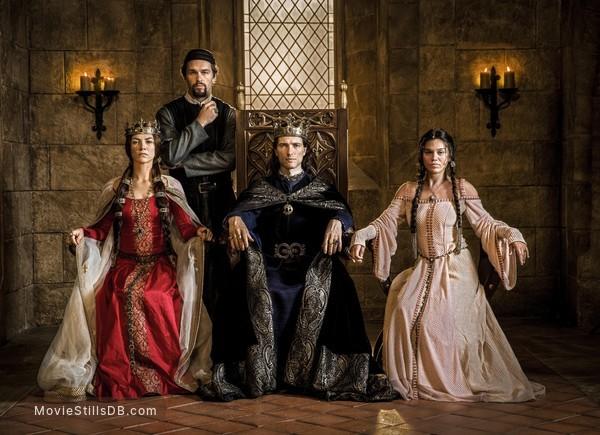 Knightfall - Promo shot of Olivia Ross, Julian Ovenden, Ed Stoppard & Sabrina Bartlett