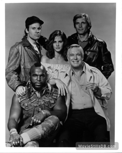 The A-Team - Promo shot of Mr. T, George Peppard, Dirk Benedict, Dwight Schultz & Melinda Culea