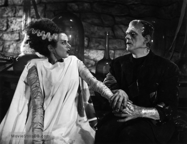 Bride of Frankenstein - Publicity still of Boris Karloff & Elsa Lanchester