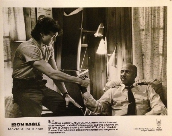 Iron Eagle - Publicity still of Jason Gedrick & Louis Gossett, Jr.