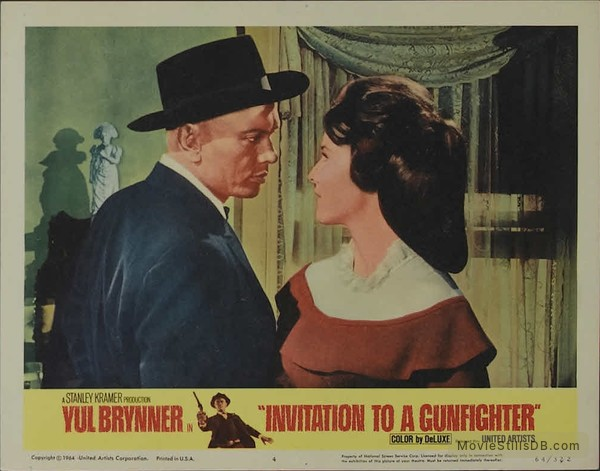 Invitation to a gunfighter lobby card with yul brynner janice rule stopboris Image collections