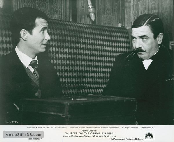 Murder on the Orient Express - Publicity still of Albert Finney & Anthony Perkins