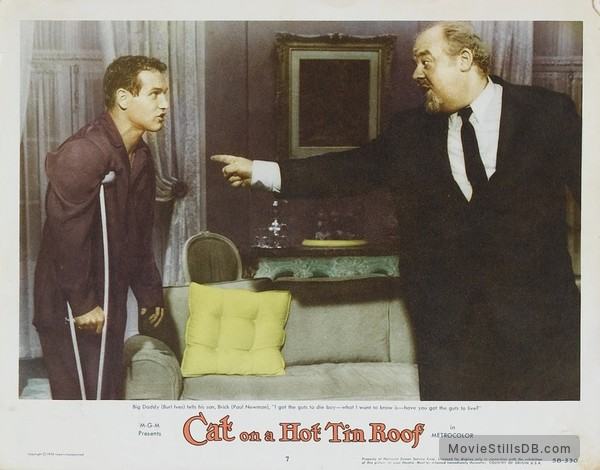 Cat on a Hot Tin Roof - Lobby card with Paul Newman & Burl Ives