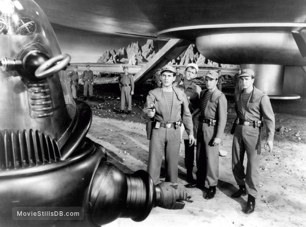 Forbidden Planet - Publicity still of Warren Stevens, Earl Holliman, Leslie Nielsen & Jack Kelly