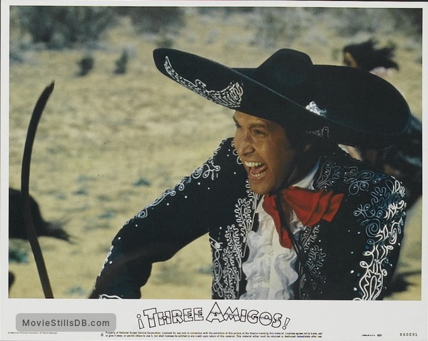¡Three Amigos! - Lobby card with Chevy Chase