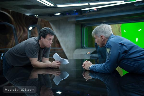 Ender's Game - Behind the scenes photo of Harrison Ford & Gavin Hood