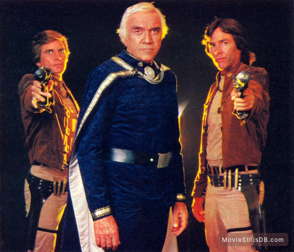 Battlestar Galactica - Promo shot of Dirk Benedict, Lorne Greene & Richard Hatch