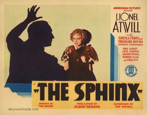 The Sphinx - Lobby card with Lionel Atwill & Sheila Terry