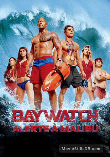 Baywatch - Promotional art with Zac Efron, Dwayne Johnson, Alexandra Daddario, Ilfenesh Hadera, Kelly Rohrbach & Jon Bass