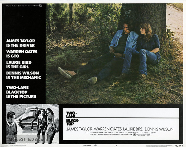 Two-Lane Blacktop - Lobby card with James Taylor & Laurie Bird