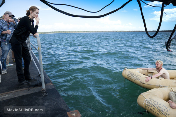 Unbroken - Behind the scenes photo of Angelina Jolie & Domhnall Gleeson