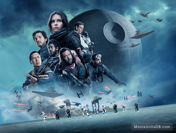 Star Wars: Rogue One - Promotional art with Diego Luna, Forest Whitaker, Donnie Yen, Jiang Wen, Felicity Jones, Riz Ahmed & Ben Mandelsohn