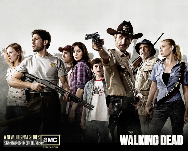 The Walking Dead - Wallpaper with Laurie Holden, Sarah Wayne Callies, Jeffrey DeMunn, Jon Bernthal, Andrew Lincoln, Emma Bell, Chandler Riggs & Steven Yeun