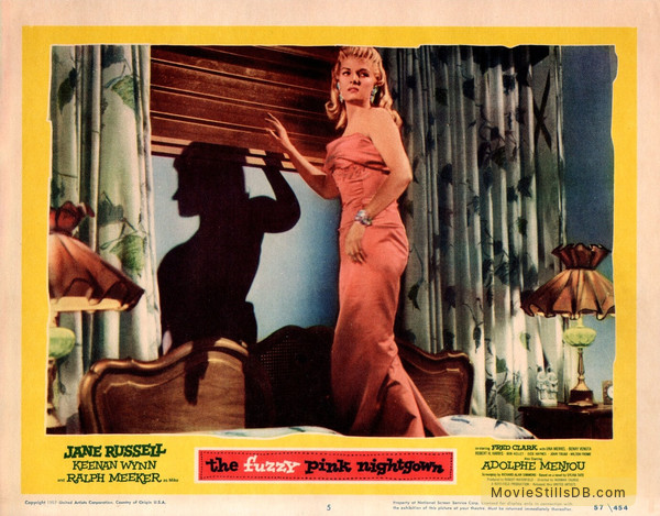 3db8a16aa8 The Fuzzy Pink Nightgown - Lobby card with Jane Russell