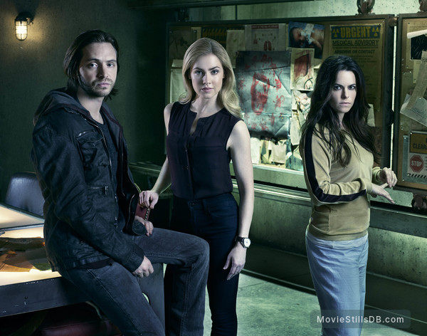 12 Monkeys - Promo shot of Aaron Stanford, Emily Hampshire & Amanda Schull