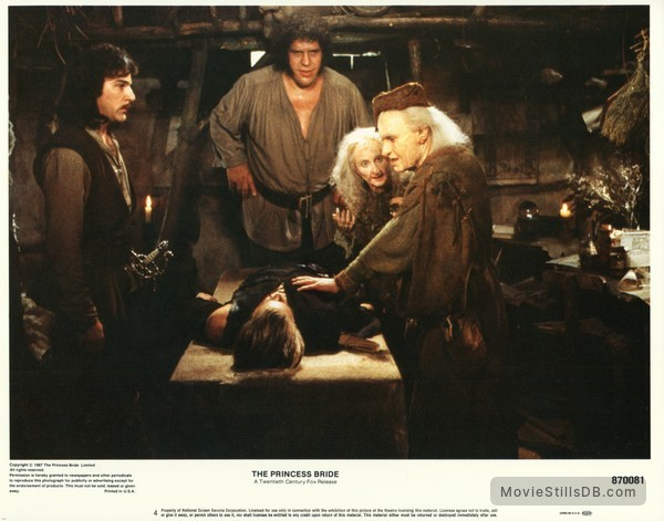 The Princess Bride - Lobby card with André the Giant, Mandy Patinkin, Cary Elwes, Billy Crystal & Carol Kane