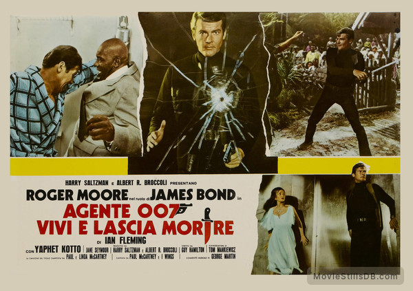 Live And Let Die - Lobby card with Roger Moore, Jane Seymour & Yaphet Kotto