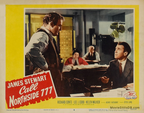 Call Northside 777 - Lobby card with James Stewart & Lee J. Cobb