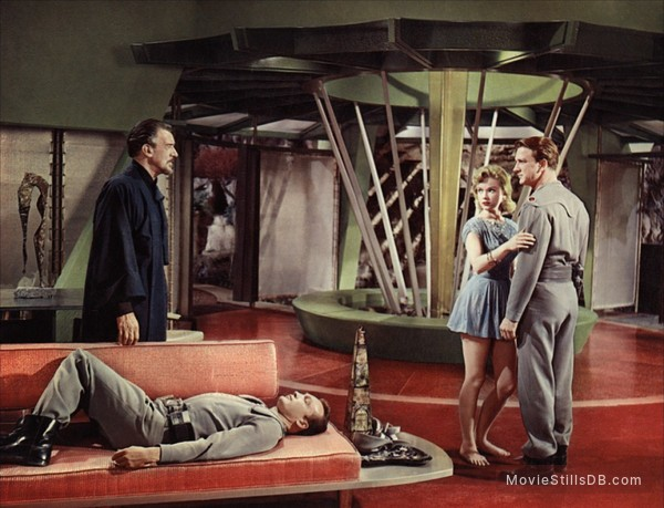 Forbidden Planet - Publicity still of Walter Pidgeon, Anne Francis, Leslie Nielsen & Warren Stevens