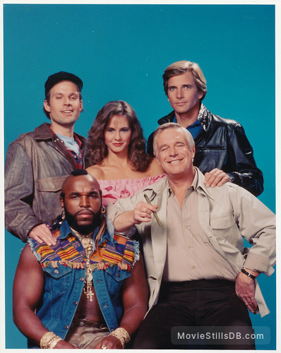 The A-Team - Promo shot of George Peppard, Mr. T, Dirk Benedict, Dwight Schultz & Melinda Culea