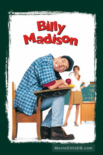 Billy Madison - Promotional art with Bridgette Wilson & Adam Sandler
