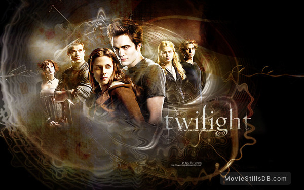 Twilight - Wallpaper with Robert Pattinson, Kristen Stewart, Kellan Lutz, Ashley Greene, Jackson Rathbone & Elizabeth Reaser
