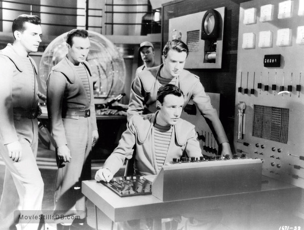 Forbidden Planet - Publicity still of Leslie Nielsen, Richard Anderson, Warren Stevens & Jack Kelly