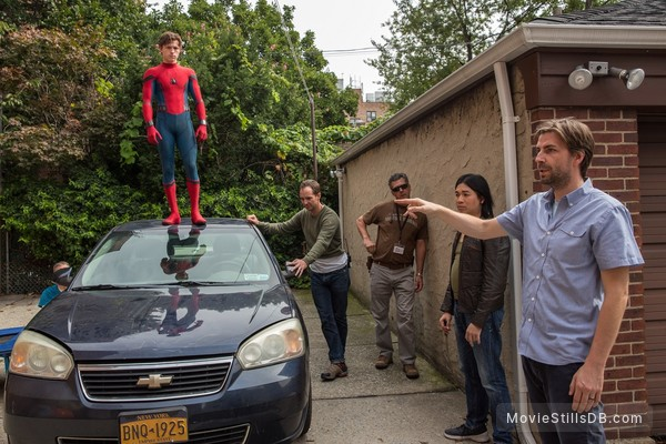 Spider-Man: Homecoming - Behind the scenes photo of Jon Watts & Tom Holland
